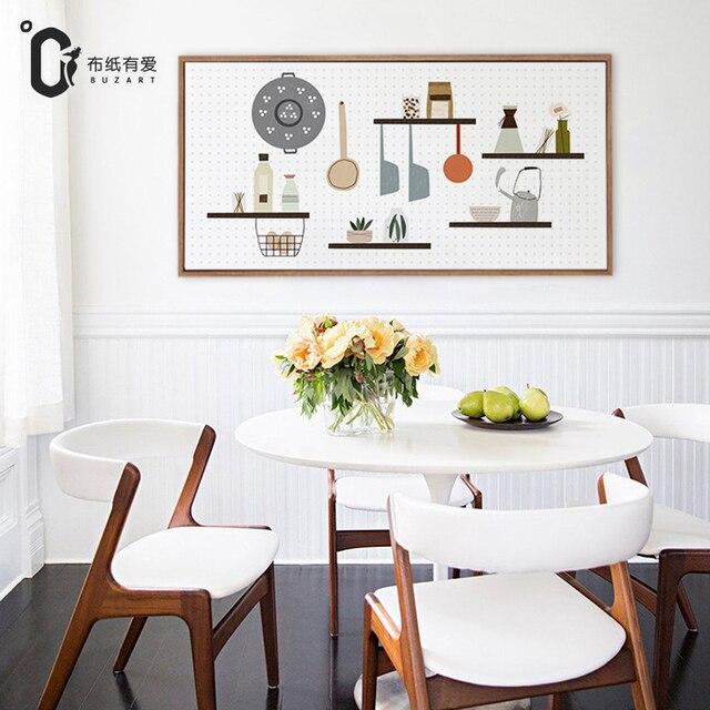 US $14.04 48% di SCONTO|Divertimento in cucina arredamento Nordico moderno  semplice creativo in bianco e nero murales No Frame in Divertimento in ...