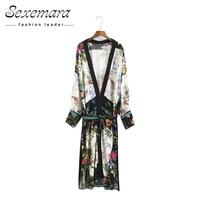 Summer Vintage Tops Blouse Floral Print Kimono Cardigan 2017 Ladies Open Split Loose Sashes Women Long