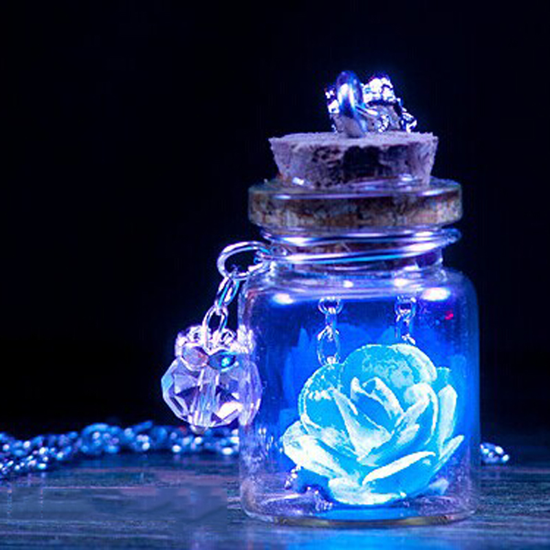 Glow In The Dark Rose Flower Glass Wishing Bottle Necklace Vintage Glowing Necklace For Women Girl Charm Statement Jewelry Gift