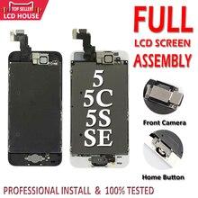 ชุดจอ LCD สำหรับ iPhone 5 5S 5C SE LCD ปุ่ม Home กล้องด้านหน้า Complete ASSEMBLY จอแสดงผล TOUCH หน้าจอ Digitizer ทดแทน