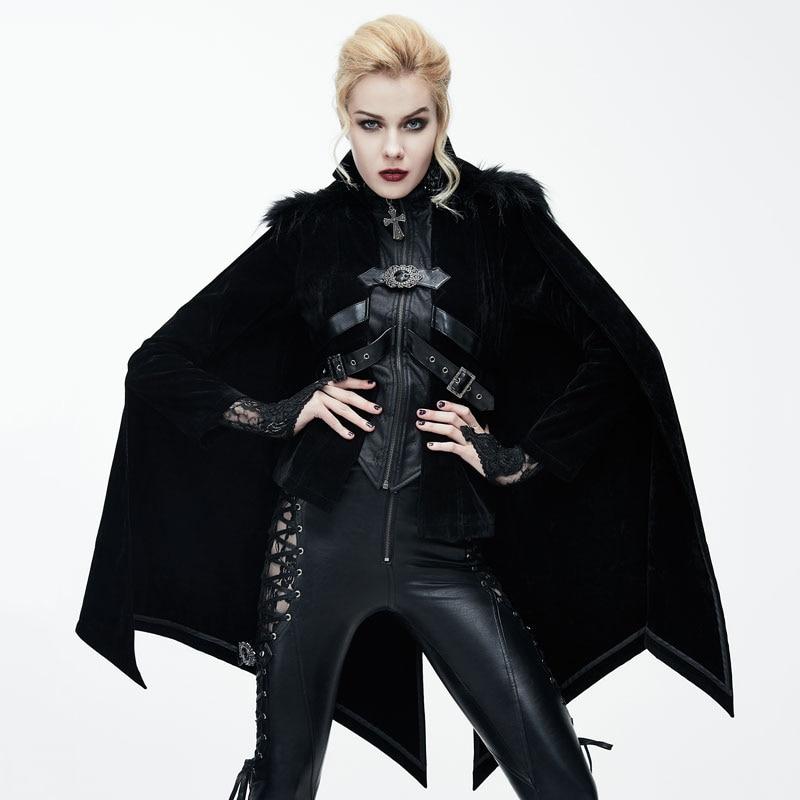 Devil Fashion Autumn Winter Women Gothic Halloween Bat Style Cloak Coats With Fur Shawl Steampunk Black Red Personality Jackets