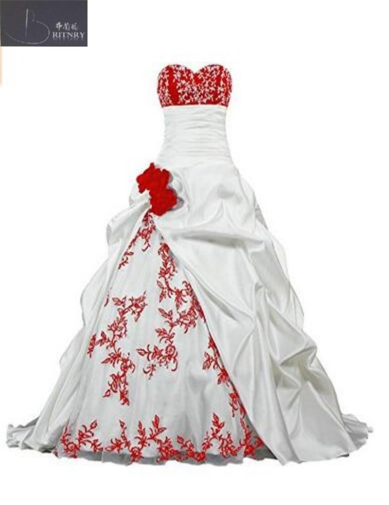 Klassische Weiße Und Rote Blume Hochzeit Kleid 2017 Ballkleid ...