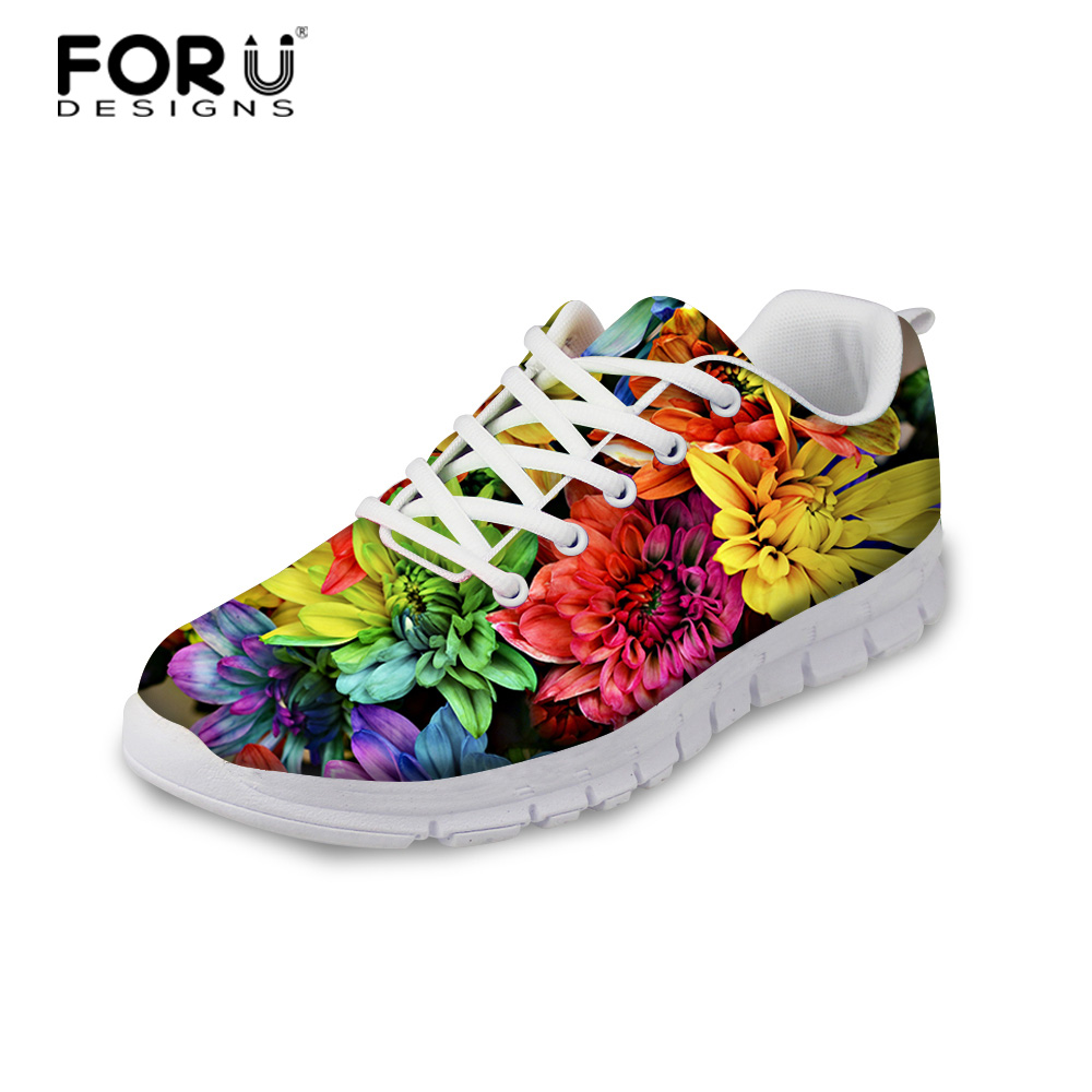 FORUDESIGNS 3D Flowers Pattern Women Casual Sneakers Comfortable Mesh Flats Shoes for Female Girls Lace-up Shoes Zapatos Mujer instantarts casual women s flats shoes emoji face puzzle pattern ladies lace up sneakers female lightweight mess fashion flats