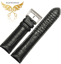 22mm Watch Band NEW Top Grade steel buckle Black Crocodile pattern Genuine Leather Watchbands BANDS Strap