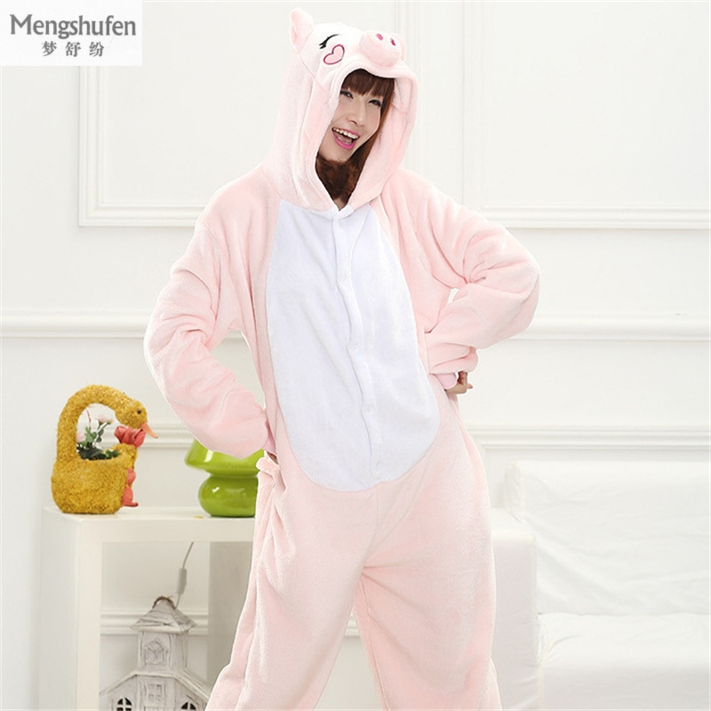 Warm Flannel Pajamas For Men Women New Winter Onsies Cosplay Long-sleeved Cartoon Pink P ...