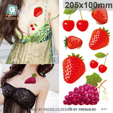 Body Art Waterproof Temporary Tattoo Sticker For Women Lady Sexy 3d Colours Strawberry Large Arm Tatoo QC2617