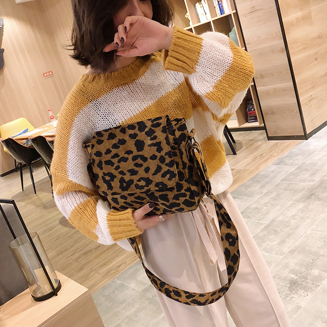 2020 leopard print Vintage Women small crossbody Bag corduroy Day High Quality mini bags Women Shoulder Bag Handbag Female 2