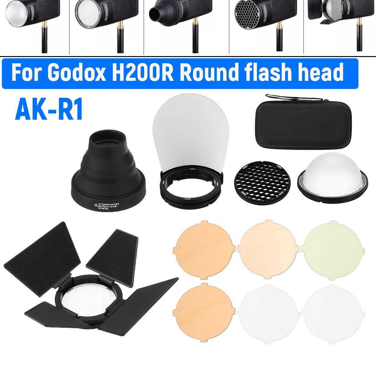 AK-R1 Barn Door Snoot Color Filter Kits Reflector Honeycomb Diffuser Ball Kits For Godox H200R Round Flash Head