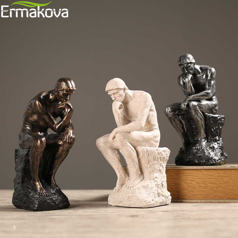 ERMAKOVA Figurine Sculpture Statue Sandstone-Craft Office-Decoration Art-Thinker Thinking-Of-You