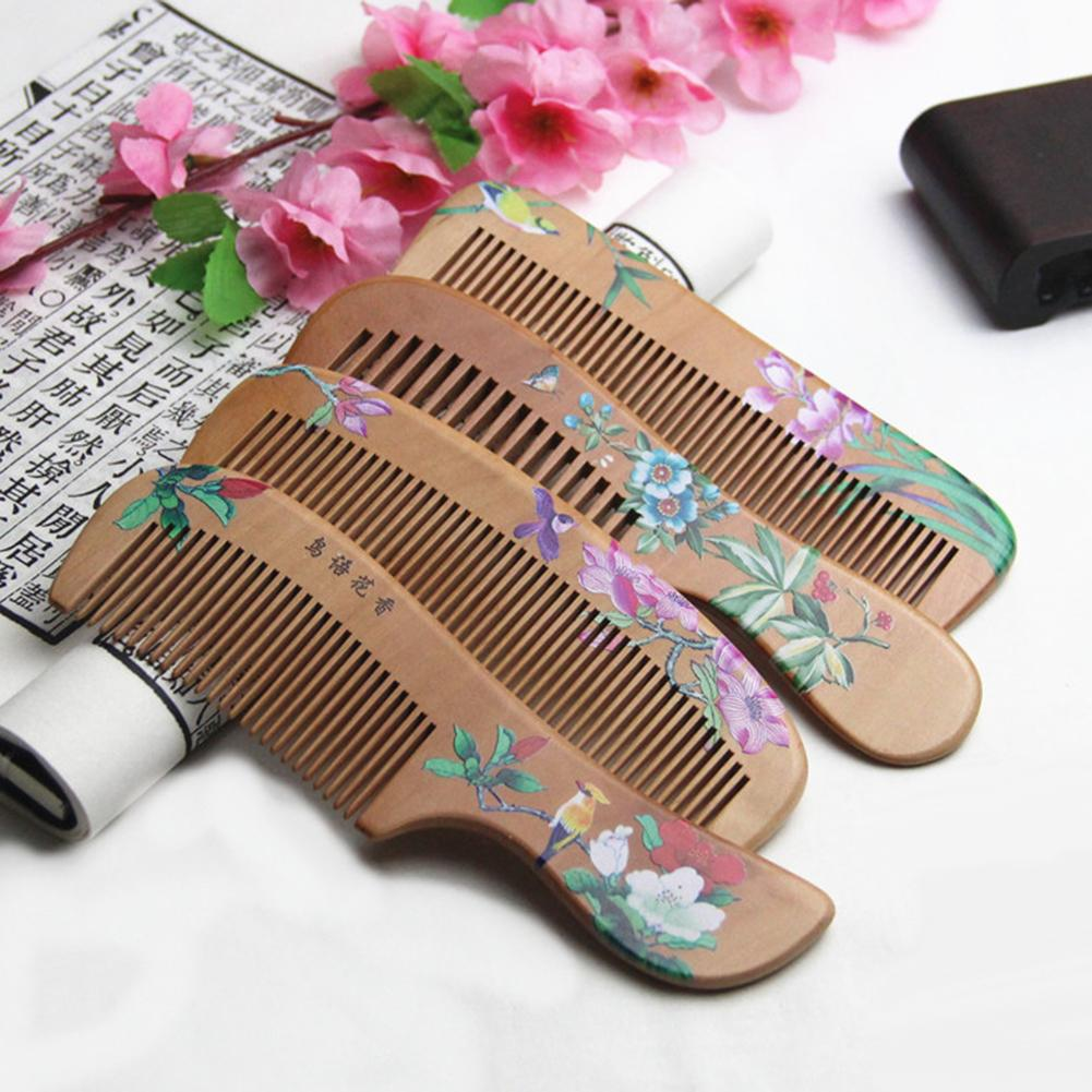 Women Flower Painted Chinese Peach Wood Healthy Scalp Massage Anti-Static Comb