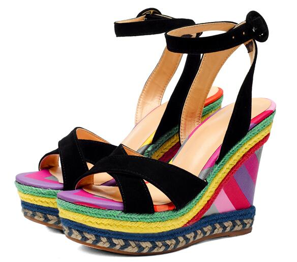 2017 newest rainbow wedge sandal for woman summer sexy open toe platform  wedge sandal 2017 ankle strap super high sandal