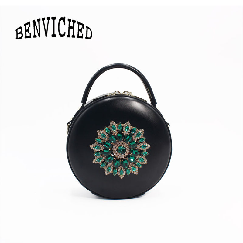 BENVICHED Ladies Genuine Cattle leather Round bag 2019 new Drills fashion handbag single shoulder bag retro mini bag c389BENVICHED Ladies Genuine Cattle leather Round bag 2019 new Drills fashion handbag single shoulder bag retro mini bag c389