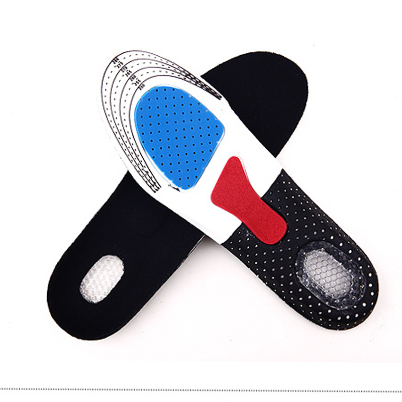1pair For Sport Shoes Pad Unisex Thickening Shock Absorption Basketball Football Shoes Pads Silicone Soft Insole 2018 1pair unisex elastic soft non slip shock absorbing silicone insoles basketball sports shoes pad blue color 1016