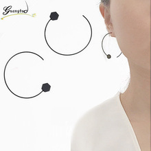 Punk Gothic Black Geometric Semicircle Hexagon Hoop Earrings For Women Jewelry Minimalist Earring Bijoux Brincos