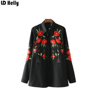 LD Helly 2018 Spring Women S Floral Embroidery Black Blouses Tops Fashion Turn Down Collar Long