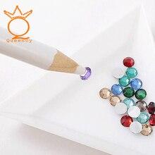 Nail Art Rhinestones Gems Picking Crystal Dotting Tool Wax Pencil wood Pen Picker Rhinestones Nail Art Decoration DIY tool