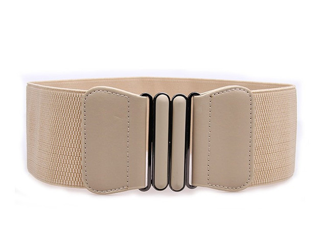 New black waistband lady gold big opal buckle wide cummerbunds wedding dress Elastic Stretch Waist Belt coat cummerbunds women