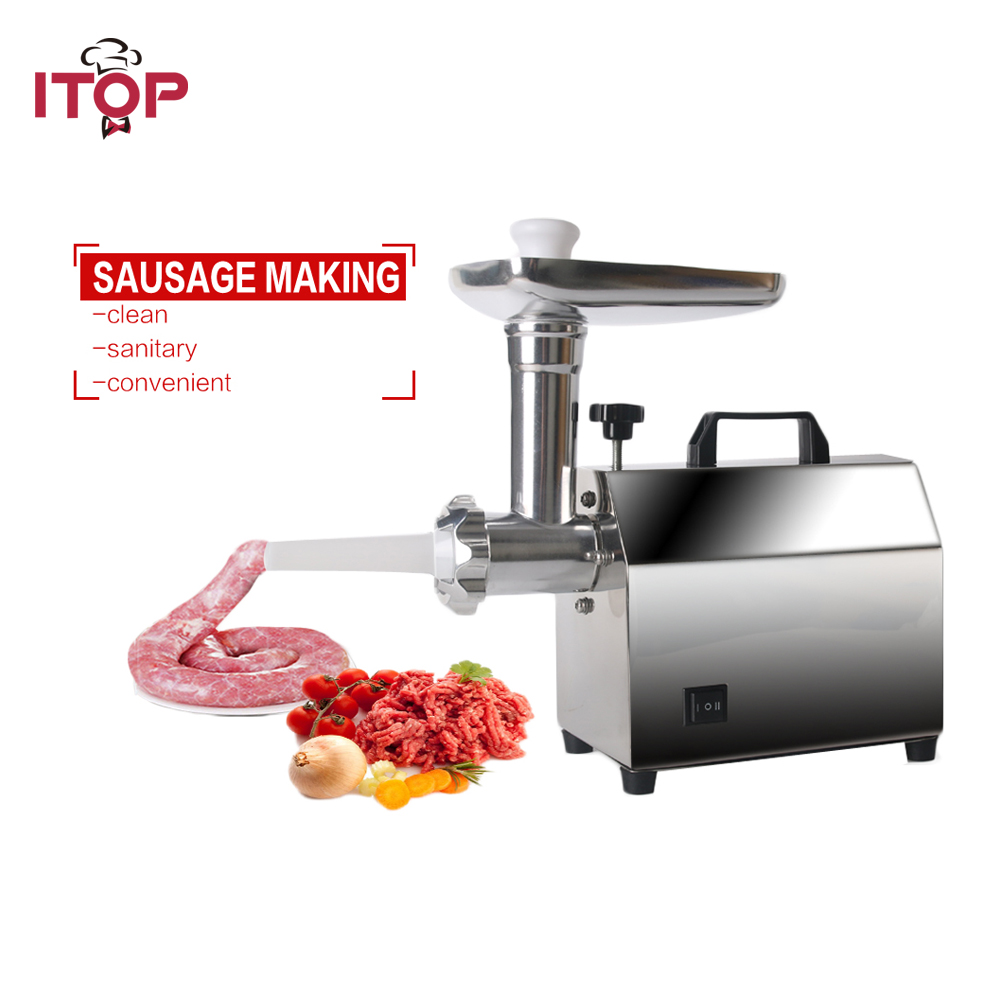ITOP Powerful Home Electric Meat Grinder Sausage Stuffer Stainless Steel Mincer Maker Meat Fish Cutter Cutting Machine