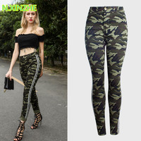 2018 women clothing high waist tight washed denim capris camouflage pencil pants Female casual fashion skinny cotton jeans AM128