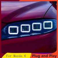 Car Styling for Mazda 6 Headlights 2004 2012 Mazda 6 LED Headlight DRL high low Beam LED 4 LED lens Dynamic streamer turn signal