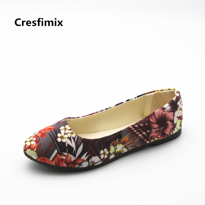 Cresfimix women fashion street office flat shoes lady cute spring & summer slip on flats female casual floral printed shoes cresfimix women fashion