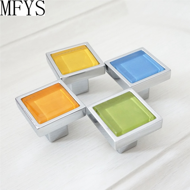 Us 3 38 11 Off Glass Knobs Orange Blue Green Yellow Square Door Knobs Colorful Drawer Knobs Kitchen Cabinet Handles Hardware Dresser Knobs In