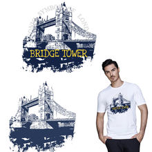 Iron on patches for clothes Tower Bridge London heat transfer pyrography for DIY T-shirt bags decoration badge hoodies stickers(China)