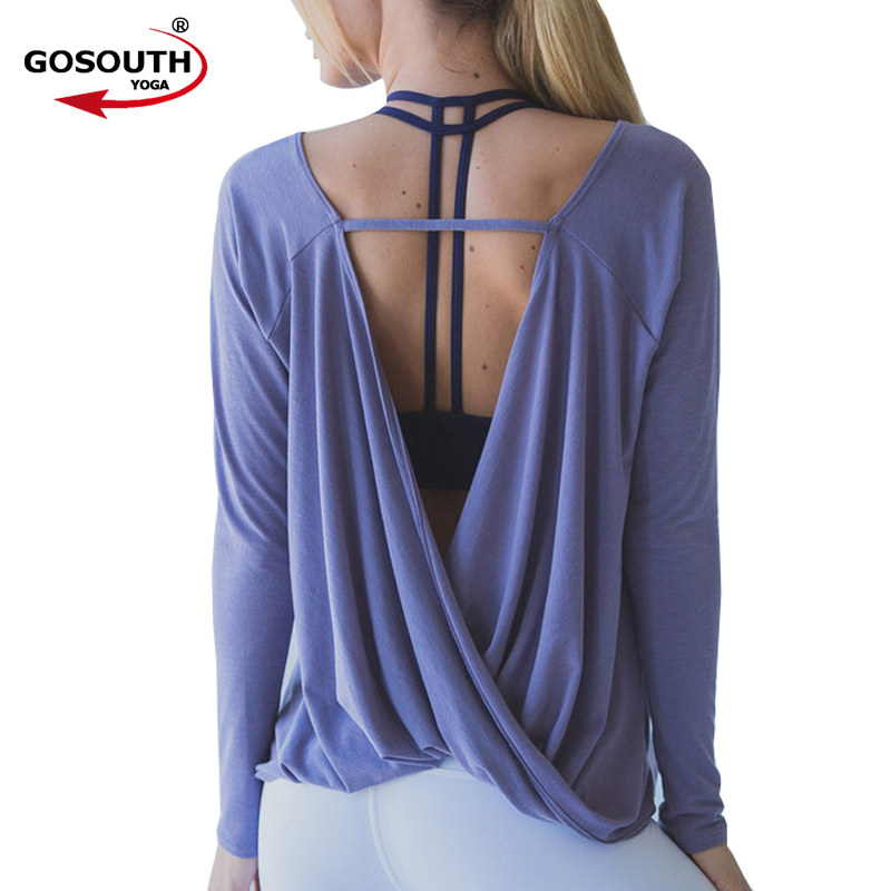 Для женщин Рубашки для мальчиков быстросохнущая тренировки Блузки для малышек Спорт Майки открытой спиной Йога Футболки с длинным рукавом ...