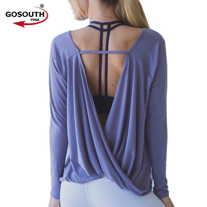 Donne Shirt Quick Dry Camicette Pullover di Sport di Allenamento Aperto Indietro Yoga Top Maglie A Manica Lunga Activewear per L'esecuzione G-355