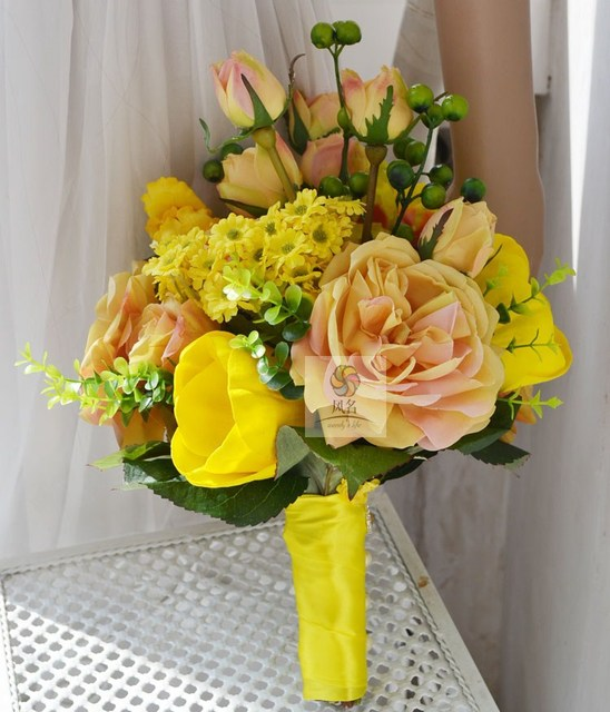 Artificial Rose Bride Bouquets Yellow Daisy Flower Gerbera Bridal bouquet Rudbeckia flowers tulip Wedding bouquet FW199