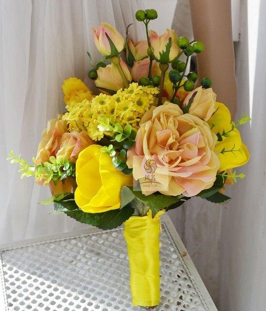Artificielle Rose Mariee Bouquets Jaune Fleur De Marguerite Gerbera