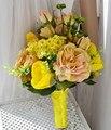 Rosa Artificial Novia Ramos Rudbeckia Amarillo Flor de La Margarita de Gerbera ramo de Novia ramo de La Boda de flores de tulipán FW199