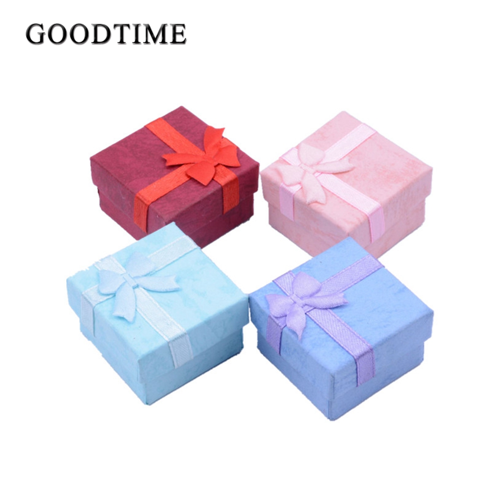 Bowknot Jewelry Packaging Display Gift Boxes 48pcs/lot 4X4X3cm Cute Box Red Pink Purple Blue Earrrings Ring Boxes Wholesale