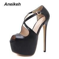 Aneikeh Hot Sale Peep Toe Woman High Heel 16CM Platform Heels Ankle Buckle Female Dress Shoes Pumps OL Party Shoes D 9913 11#