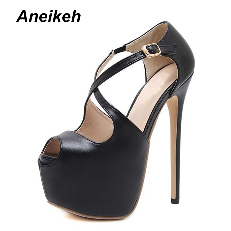 6efbefacb4389f Aneikeh Hot Sale Peep Toe Woman High Heel 16CM Platform Heels Ankle Buckle  Female Dress Shoes Pumps OL Party Shoes D-9913-11