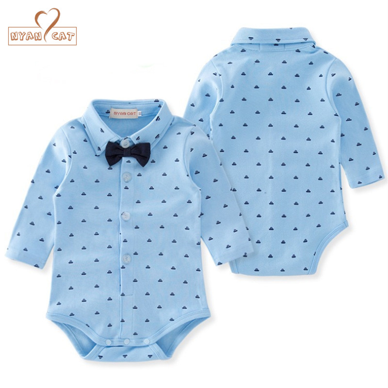 Nyan Cat Baby boys bodysuit long sleeves gentlemen black bow tie bodysuit infant toddler spring autumn blue boat body clothes black stitching floral lace self tie front long sleeves bodysuit