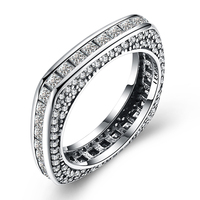 100% Genuine 925 Sterling Silver Ring for Women AAA Zircon Square Finger Rings Party Jewelry Anniversary Engagement Wedding Ring