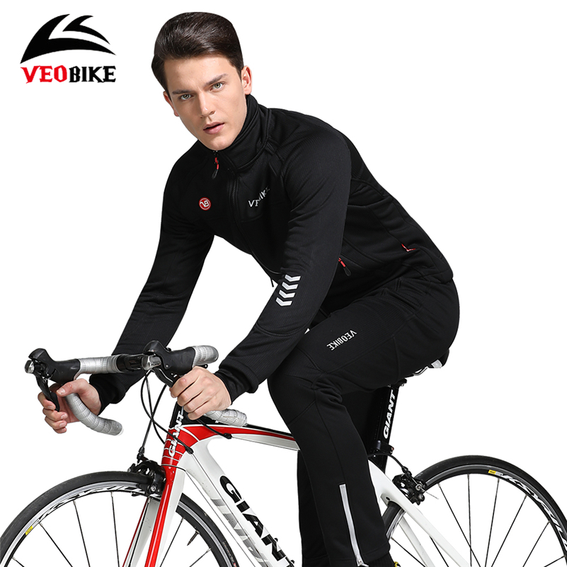 VEOBIKE Cycling Jacket Sets Waterproof Long Sleeve Riding Coat Pants Suits Thickening Windproof Reflective Bicycle Clothing Set цена