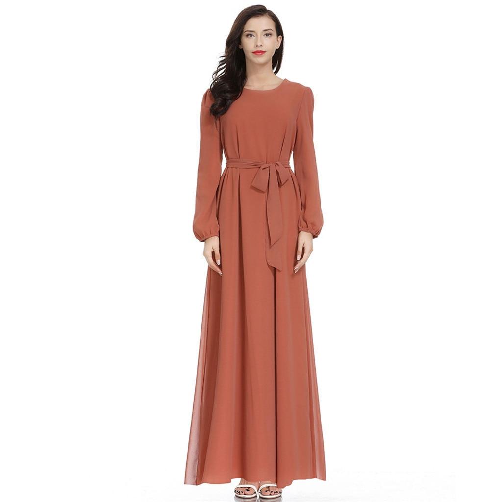 Long Abaya Dress Casual Muslim Dress Women Muslim Solid O-neck Long Sleeve Chiffon Arab Dress Islam Jilbab Dress T417