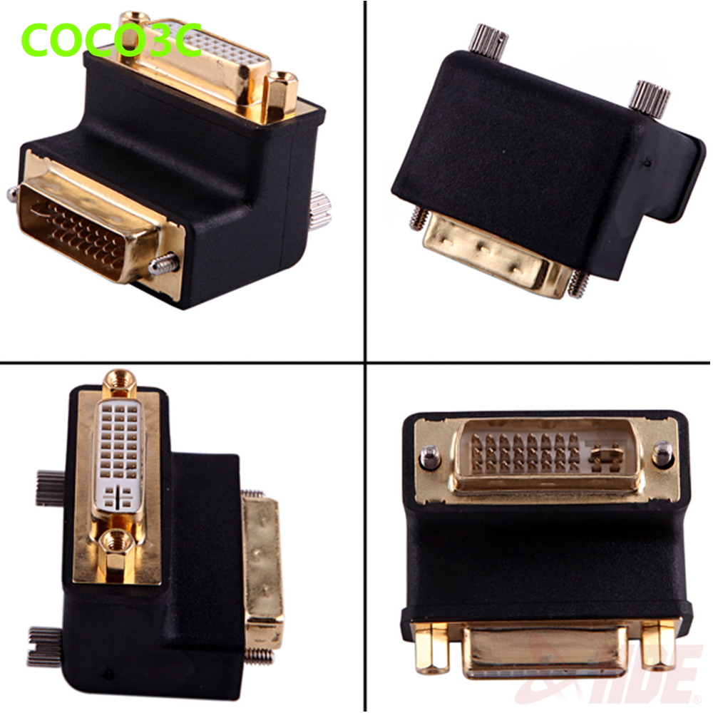 24+5 Pin DVI Male to Female 90 degree Port Cable adapter Monitor Connector 10.2Gbps DVI Video Extension converter dvi 24 5 male to component video female adapter