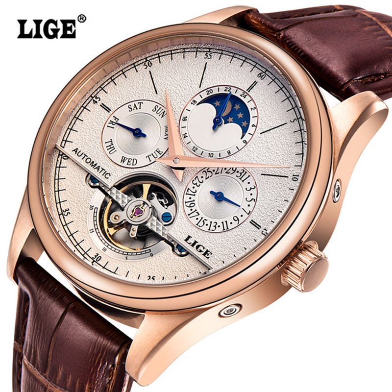 LIGE Brand Men's Watches Six-pin Moon Phases Automatic Watch Men Dive 50M Fashion Casual Leather Wristwatches Relogio Masculino