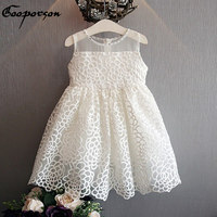 Girls Princess Dress Summer White Floral Dress For Baby Girl With Rhinestone Children Dress Clothing Drop
