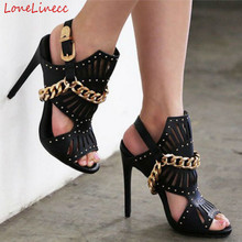 2018 Summer Catwalk Strappy High Thin Heels Pumps Woman Black Open Toe Sandals Gold Chains Cut Out Hoge Slippers Women Plus Size original intention super sexy women sandals thigh high cut outs open toe thin heels sandals gold shoes woman plus us size 4 15