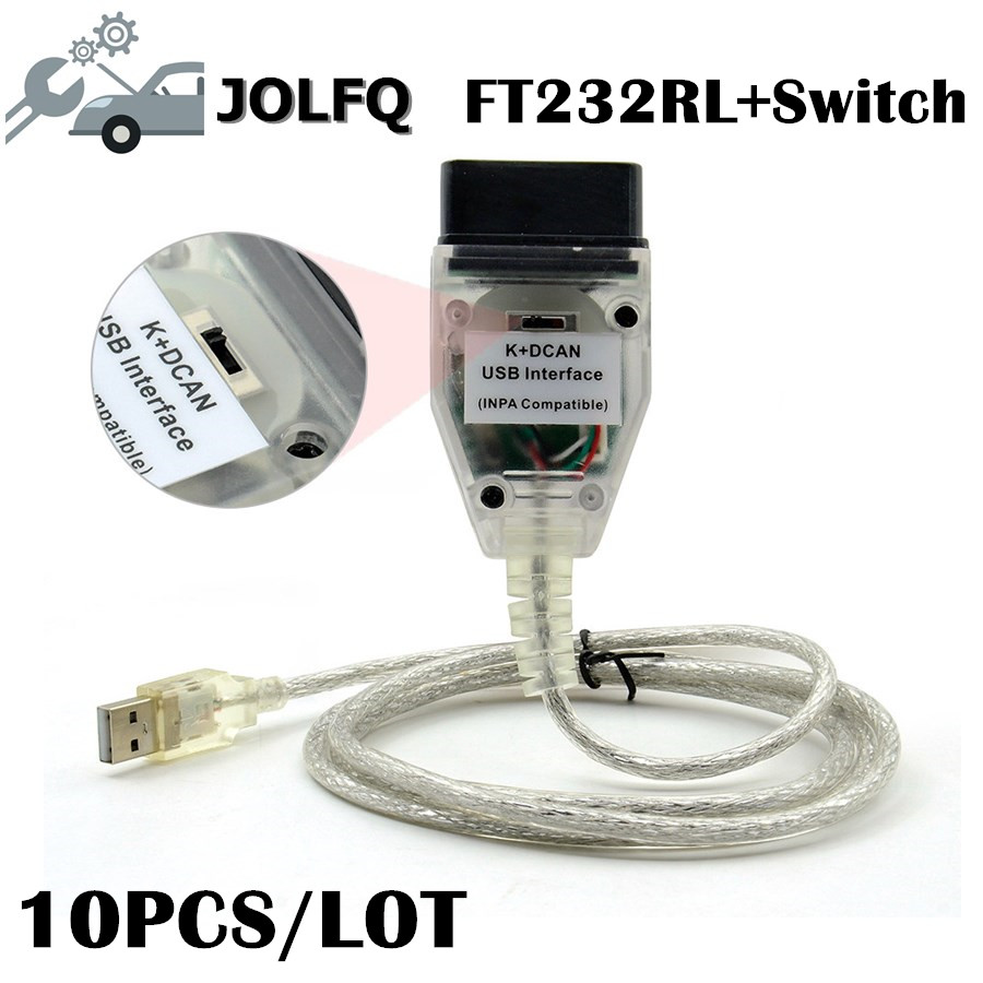 Free dhl Best quality 10pcs lot For BMW INPA K DCAN With FT232RL with switch For