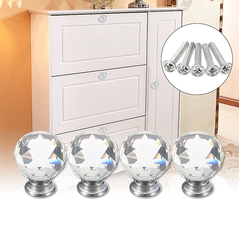 4Pcs 30mm Round Clear Crystal Glass Door Knobs Drawer Cabinet Furniture Handle+Screw Kitchen Door Handles Wardrobe Hardware 30pcs furniture fittings k9 clear crystal glass cabinet drawer knobs door handle diameter 30mm