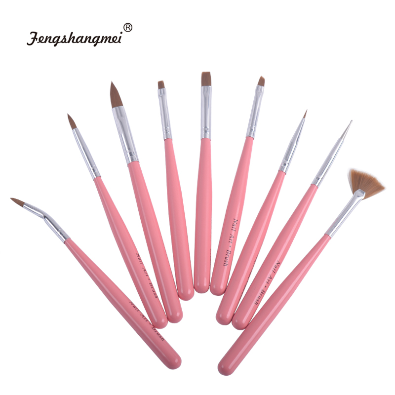 Fengshangmei 9pcs Brushes For Nail Design Artistic Nail Gel Brushes