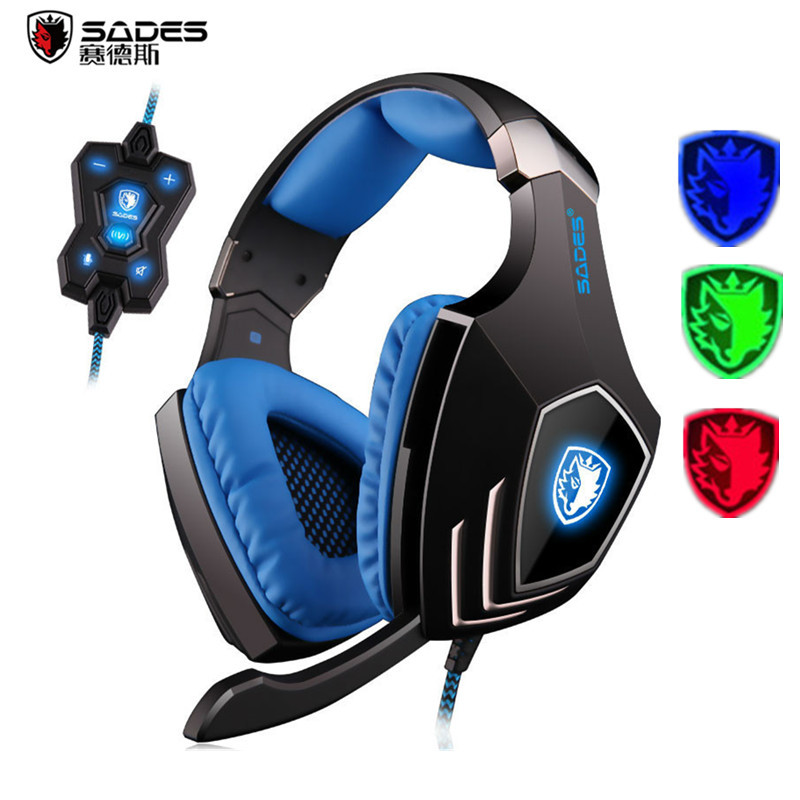 SADES A60 USB 7.1 Surround Sound Pro Gaming Headset Gamer Vibration Super Bass Over-ear Stereo Headphones with Mic for PC Game sades a6 computer gaming headphones 7 1 surround sound stereo over ear game headset with mic breathing led lights for pc gamer