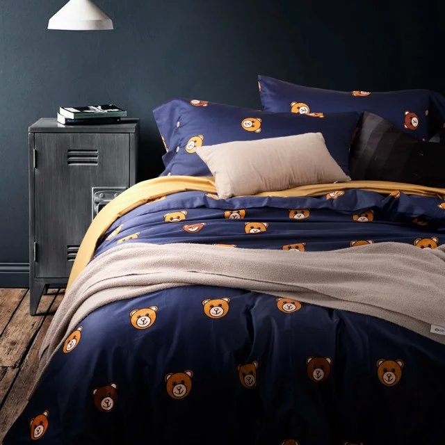 Teddy Bear Linen Bedding Set Cute Duvet Cover Egyptian