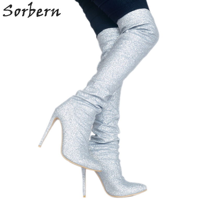 Sorbern Silver Glitter Over The Knee Boots High Heels Fenty Make Up Glitter Platform High Heel Boots Sequin Shoes Extreme High цена 2017