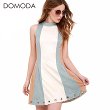 DOMODA Zipper Back Color Block Summer Dresses Women Cute O-neck A-line Eyele Mini Dress High-waist Casual Vestidos Female